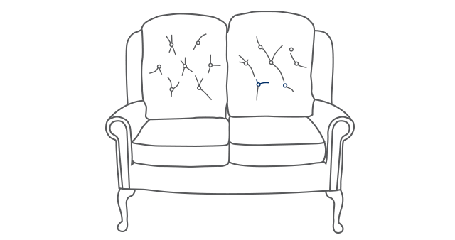 Hampton Legged Two-Seater Comfort Sofa diagram