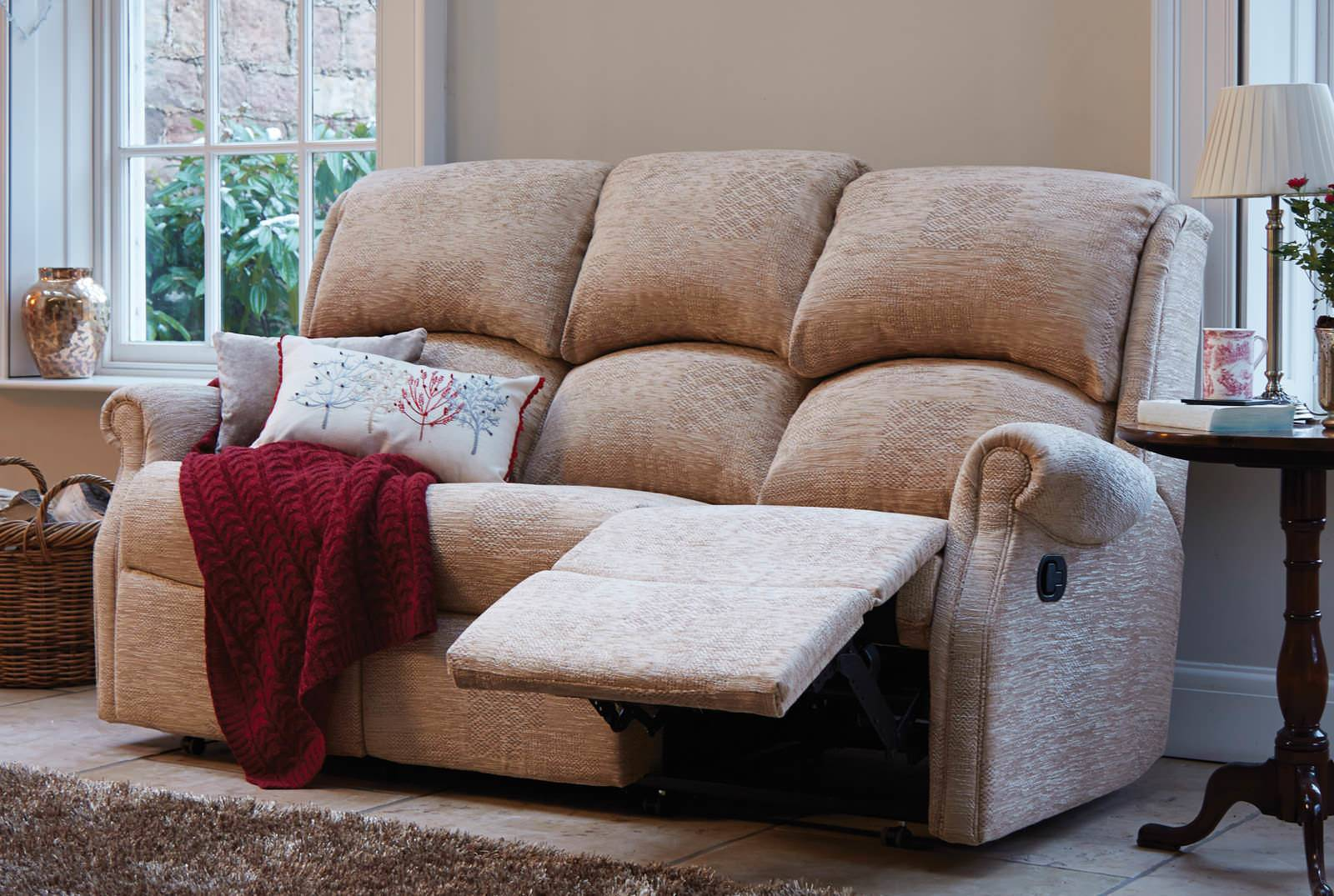 Berwick Three-Seater Catch Recliner Sofa in Patchwork Jute