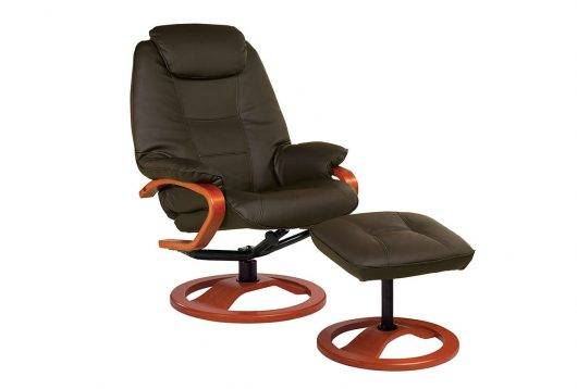 Haydock Luxury Reclining Swivel Chair in Chocolate Leather