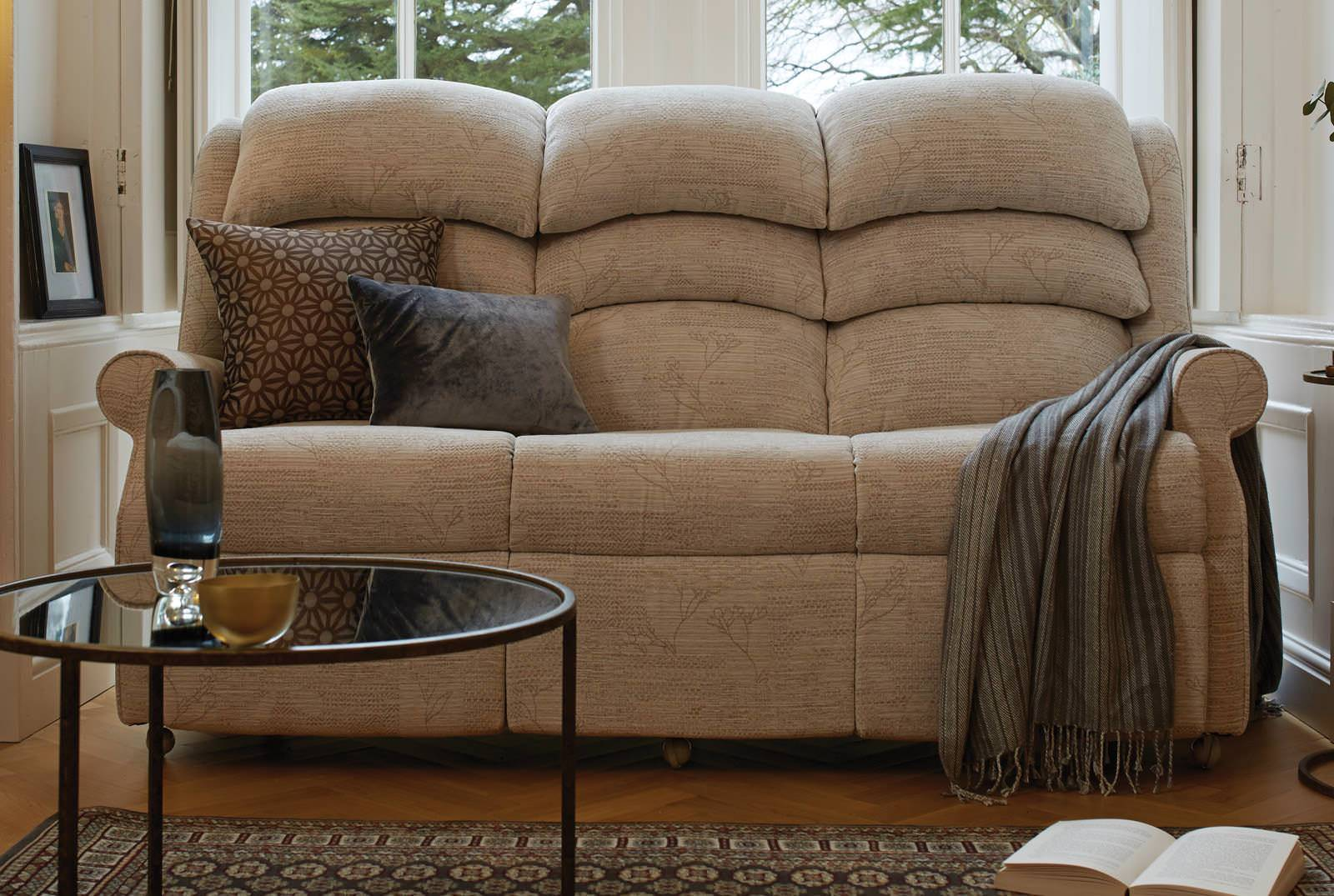 Waltham Three-Seater Comfort Sofa in Lucky Harper Patchwork Stone