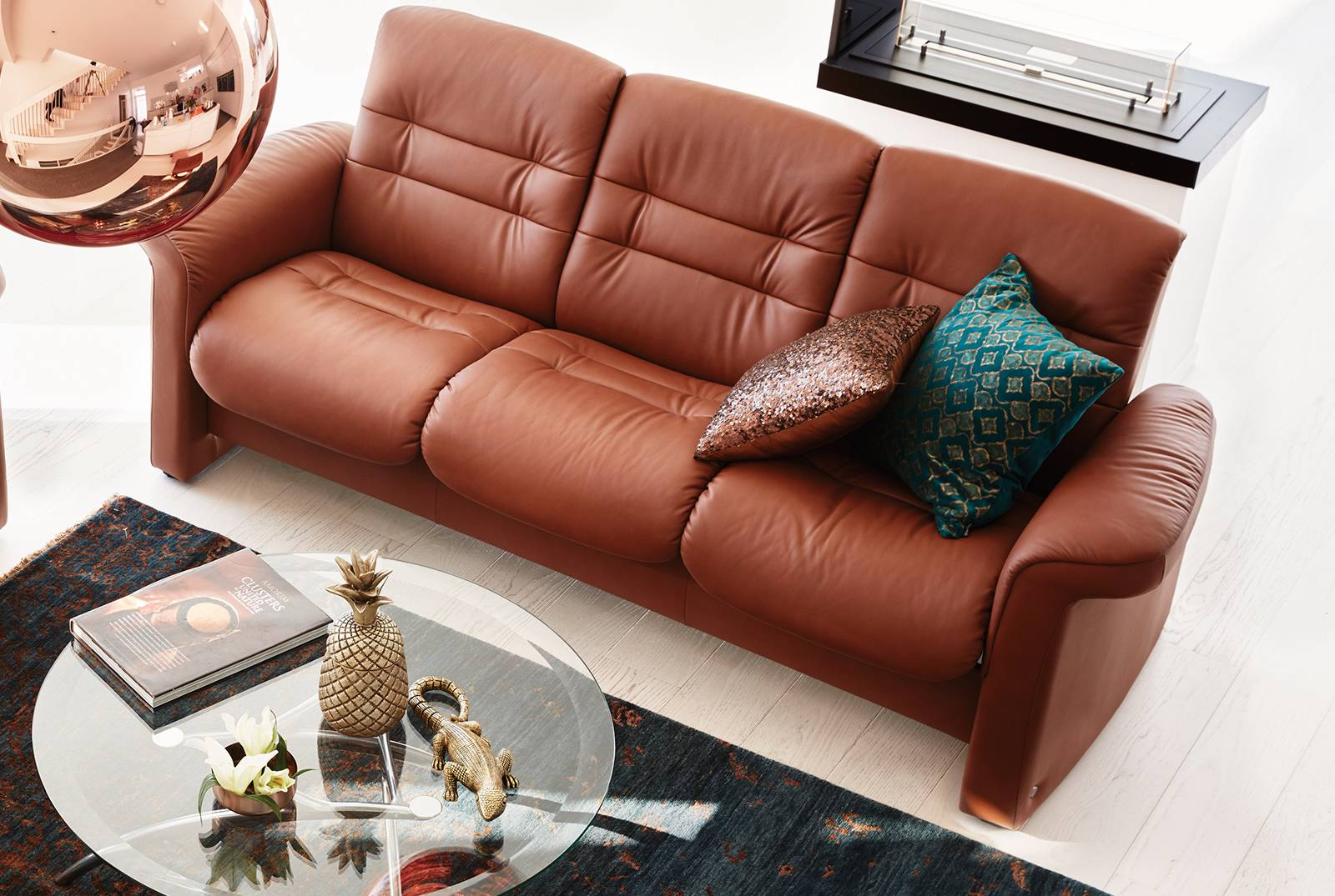 Gallery Opal Three-Seater Low Back Sofa in Paloma Copper