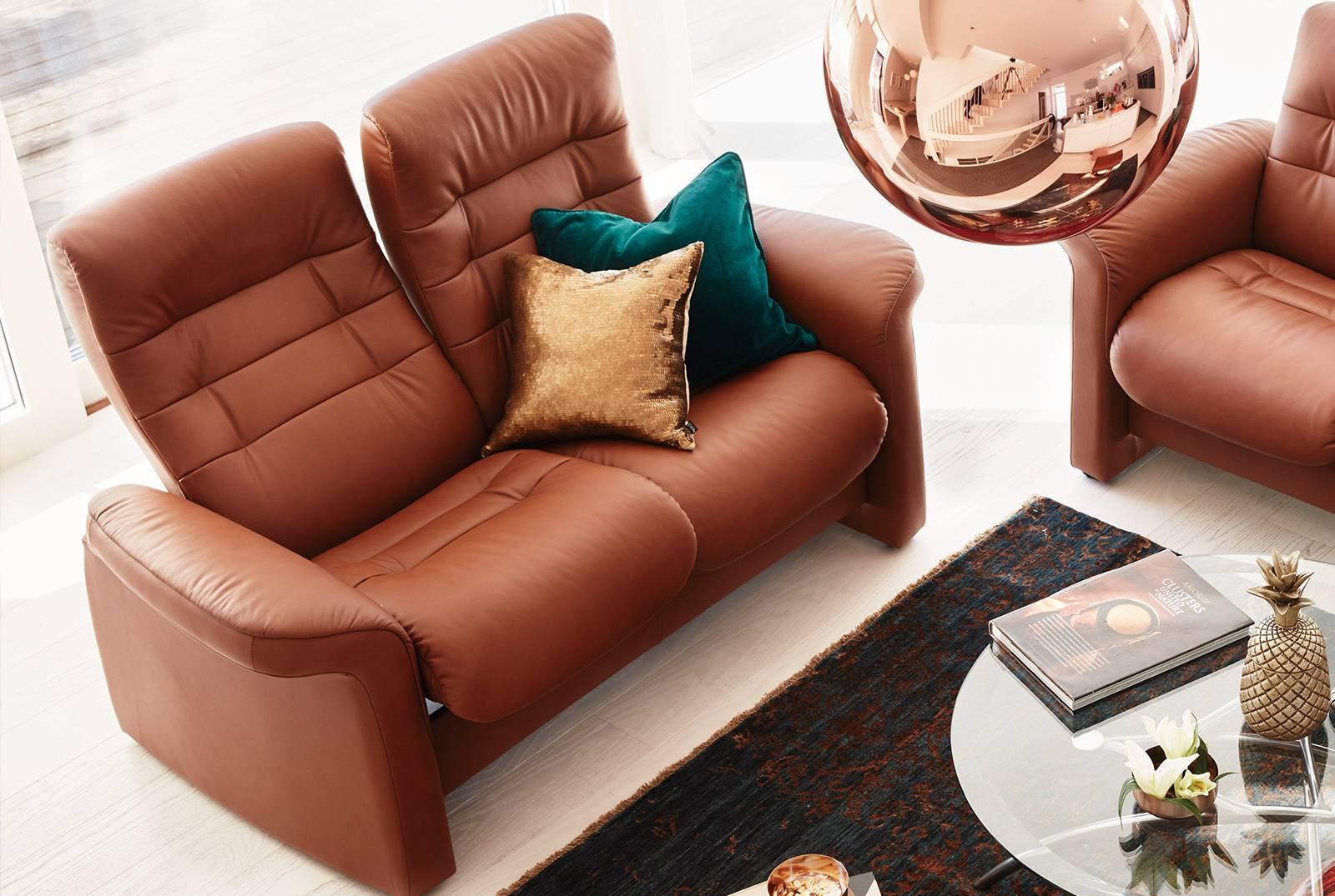 Gallery Opal Two-Seater High Back Sofa in Paloma Copper