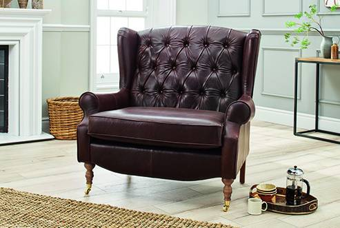 Glenmore Button Back Snuggler Chair in Alaska Chocolate