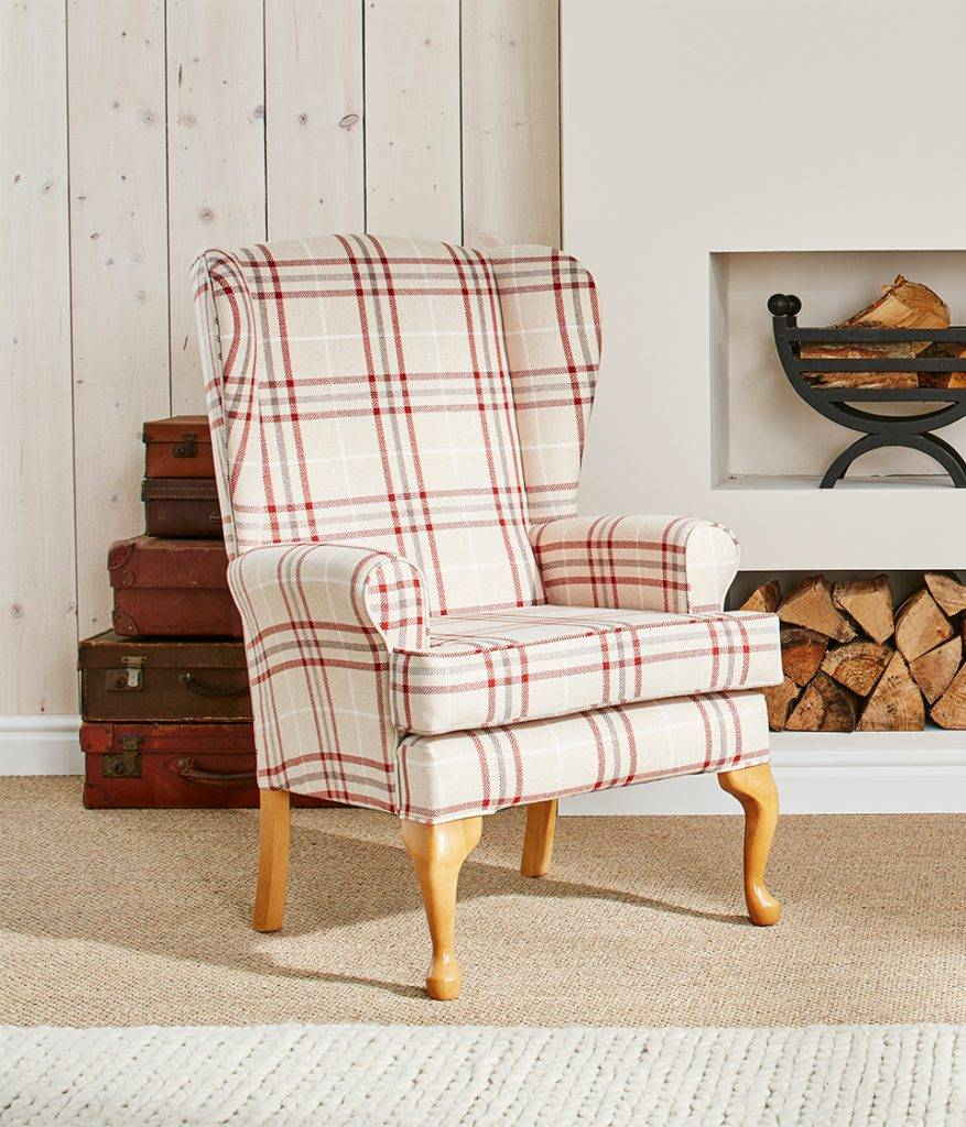buckingham Fireside Chair in Nobel Check