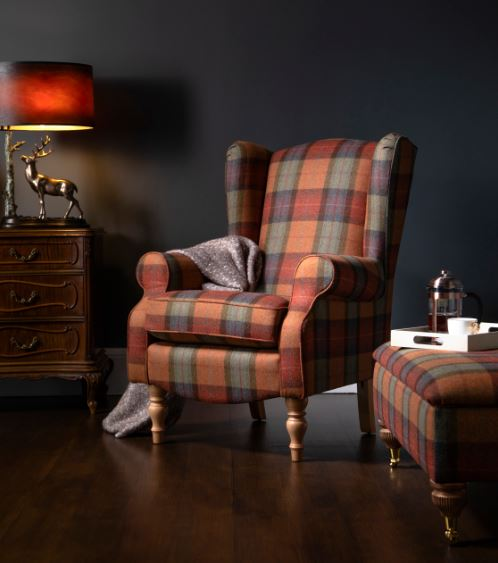 Glenmore Solway Check Fireside Chair Moon Designer Fabric