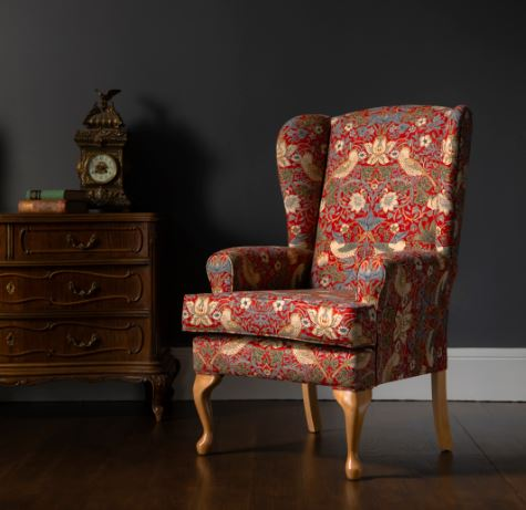 Morris Designer Fabric Strawberry Thief Fireside Chair