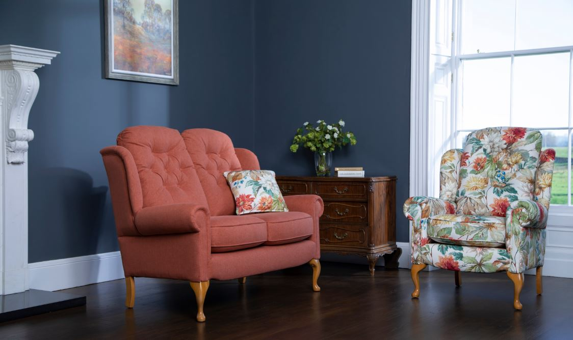 Fireside Suite Floral Fabric Designer Sanderson Dahlia And Rosehip
