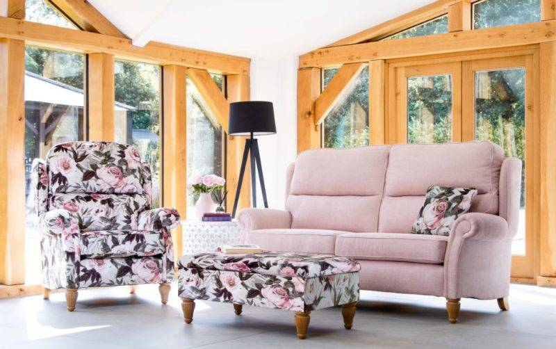 Classic Sofa In Floral And Blush Pink Burrows