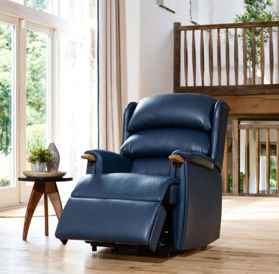 Leather Recliner Aysgarth Vermont Oriental Blue